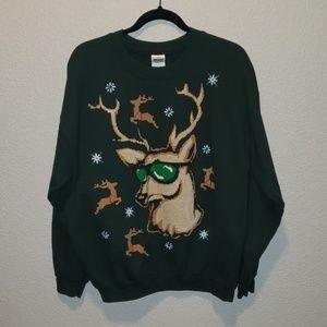 Gildan   Men reindeer design holiday xmas sweater